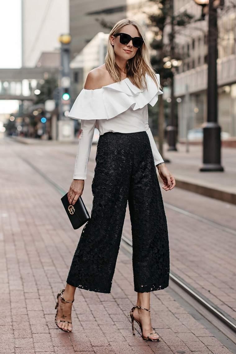 pantalones-culottes-moda-negros-top-blanco