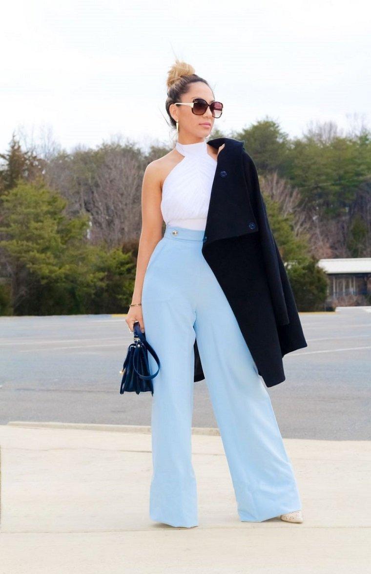 pantalones para boda tipo-Palazzo azul