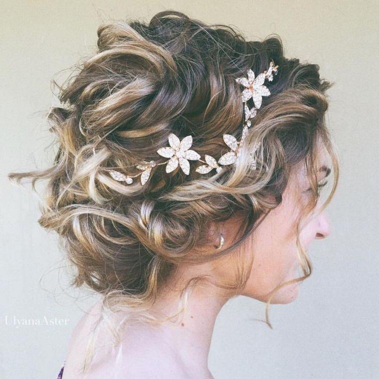 peinados cabello corto flores