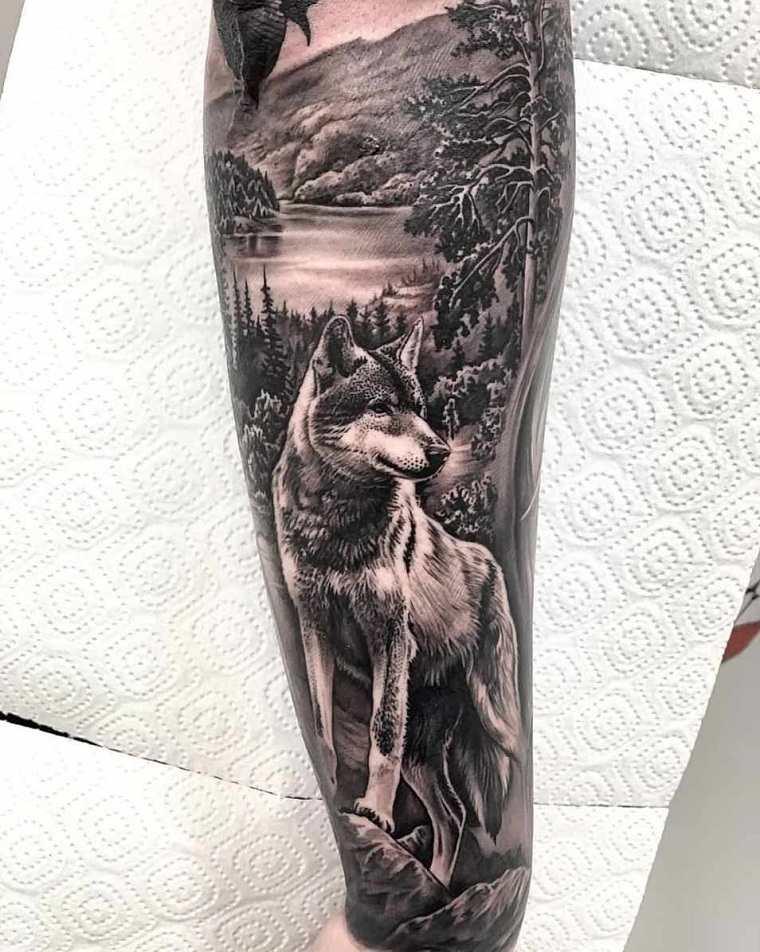 significado-de-tatuajes-de-lobos-bosque