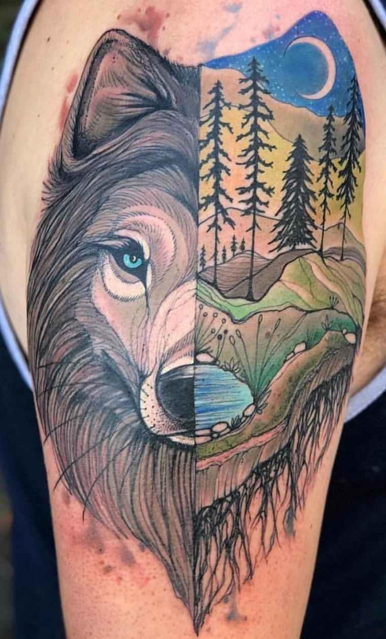significado-de-tatuajes-de-lobos-color