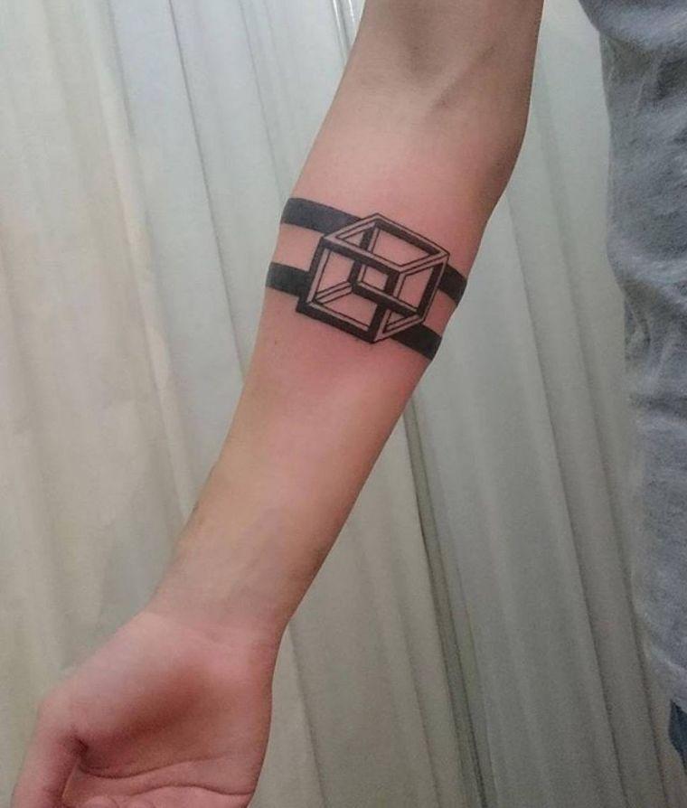 tatuajes de líneas cubo