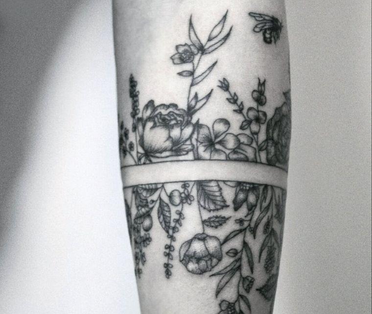 tatuajes de lineas flores