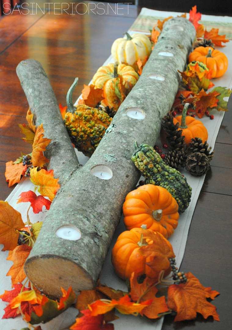 Soporte de rama de árbol para velas con calabazas festivas