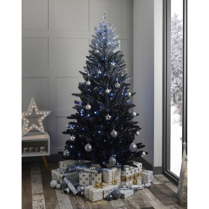 arboles de navidad decorados tonos azules