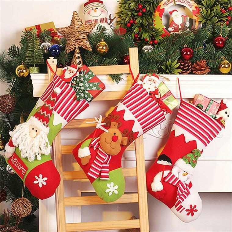 calcetines navideños escalera