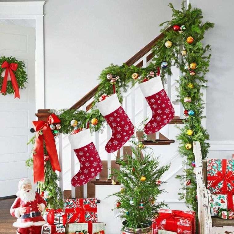 calcetines navideños escaleras