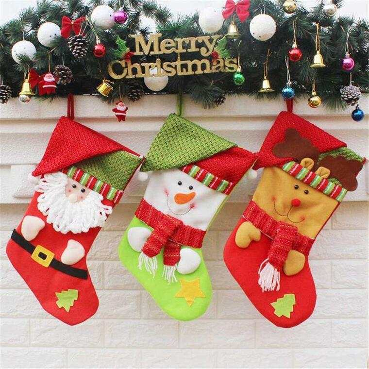 calcetines navideños fieltro