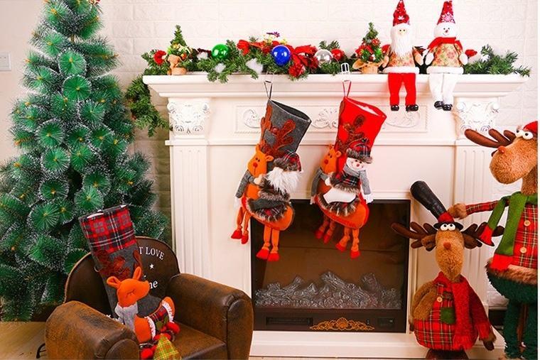 calcetines navideños naranjas