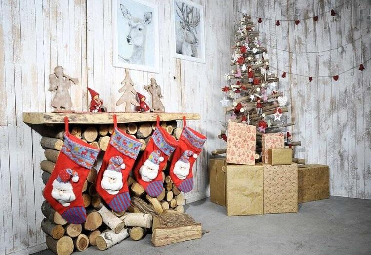 calcetines navideños rusticos