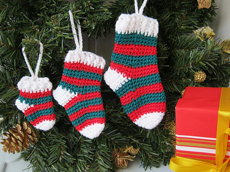 calcetines navideños tejido