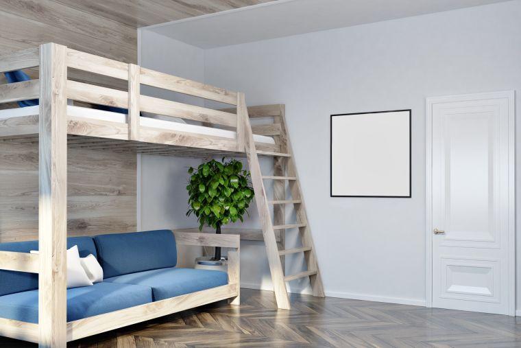 cama alta minimalista