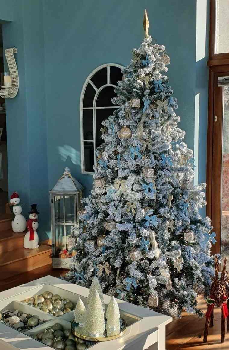 cómo adornar un árbol de navidad celeste