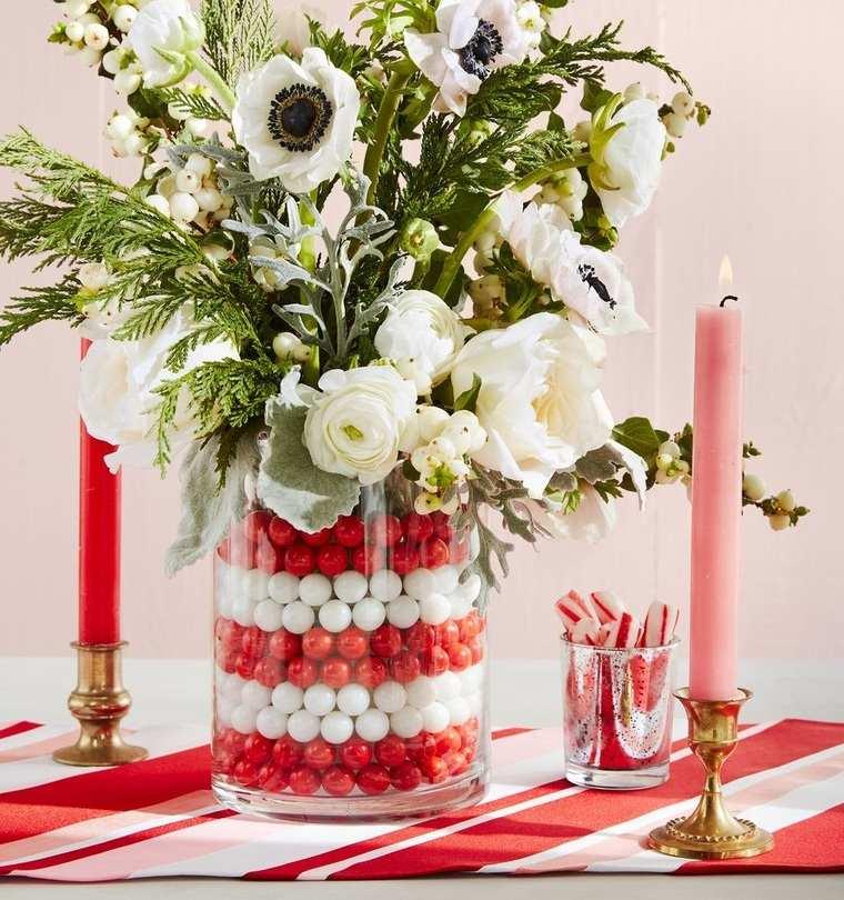 ideas de centro de mesa para navidad rosa