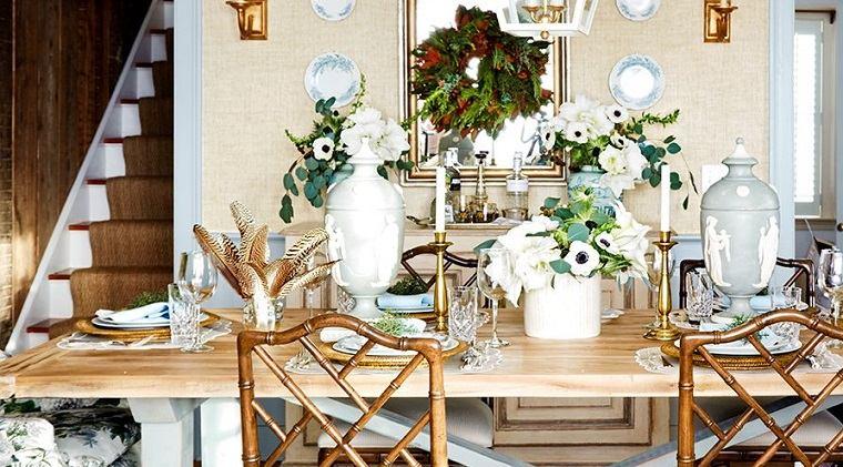 ideas de centros de mesa para navidad dorado