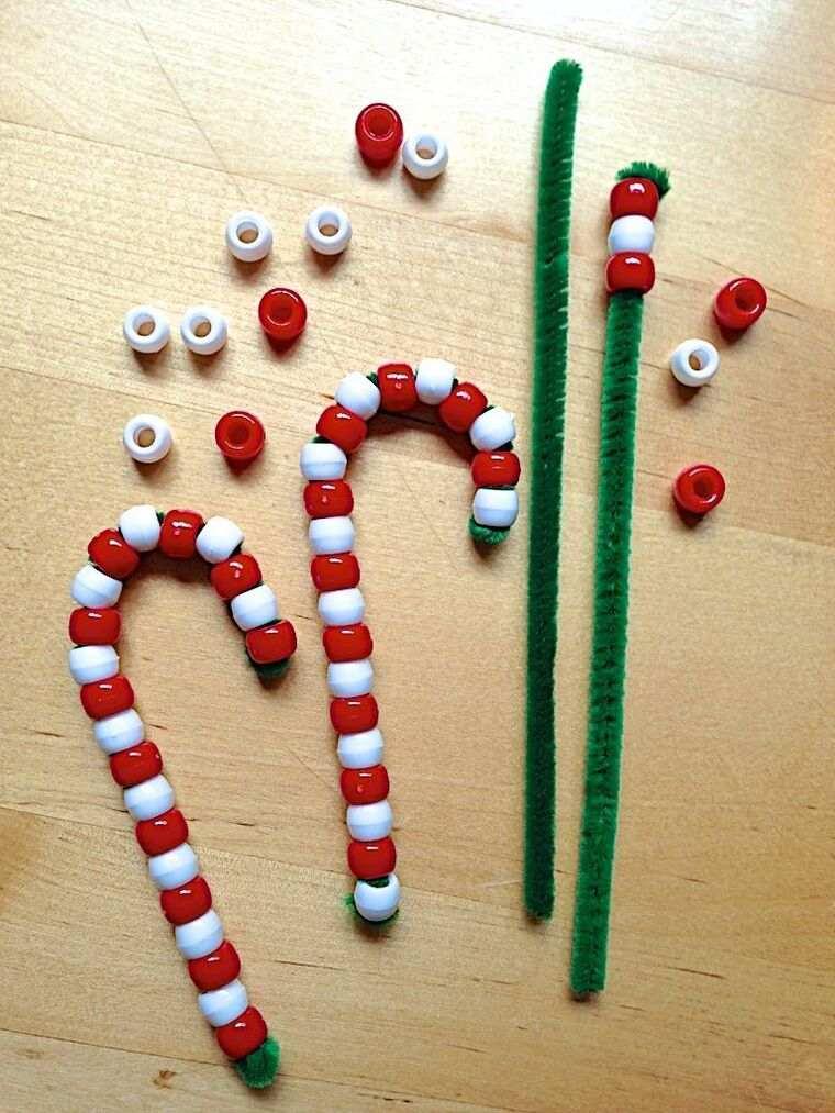 manualidades navideñas fáciles para niños baston