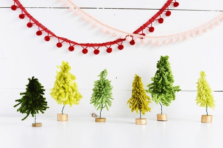 manualidades navideñas originales hilos colores