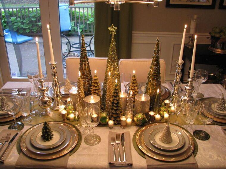 mesa de invierno dorado