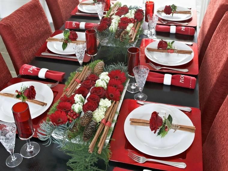 mesa de invierno rosas