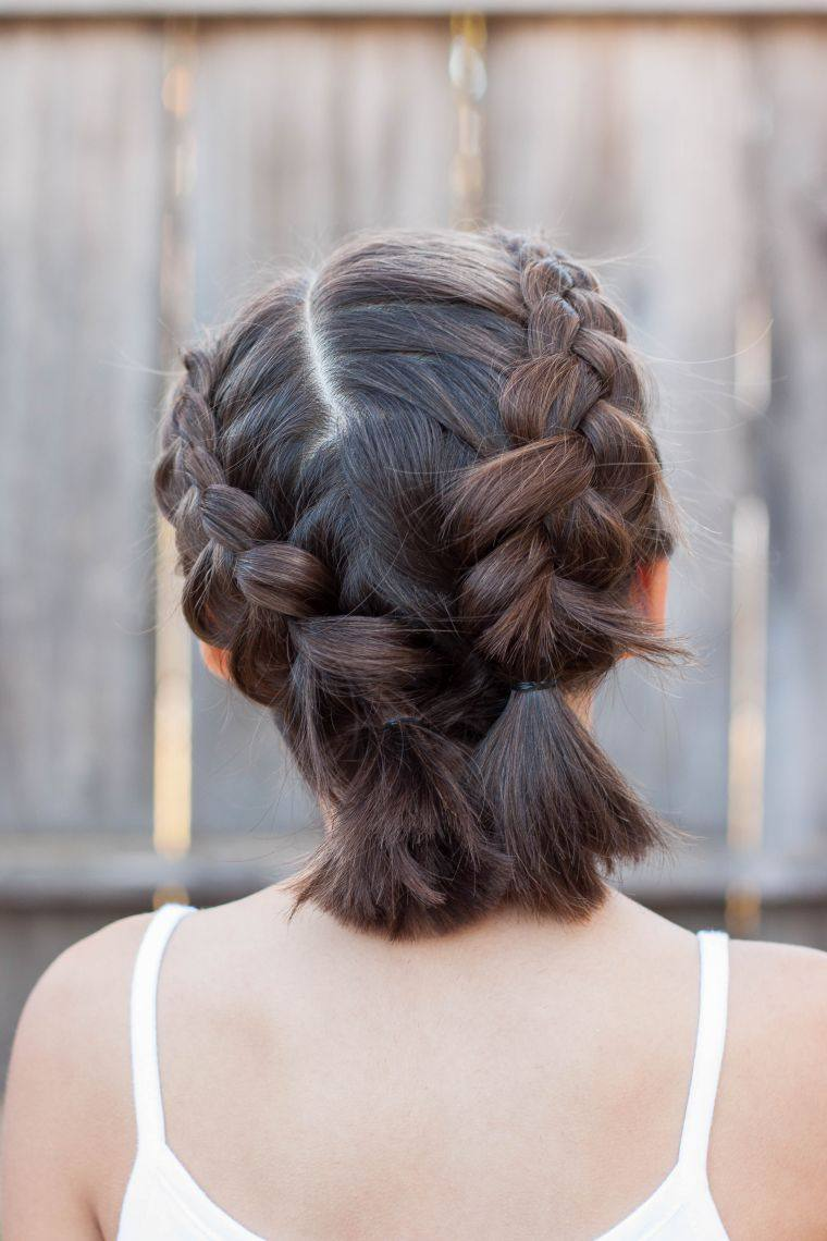 peinados para media melena coletrenza
