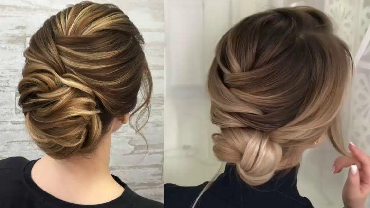 peinados para media melena moñito