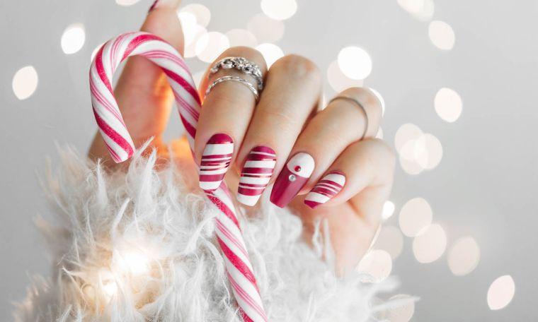 uñas navideñas 2019 baston