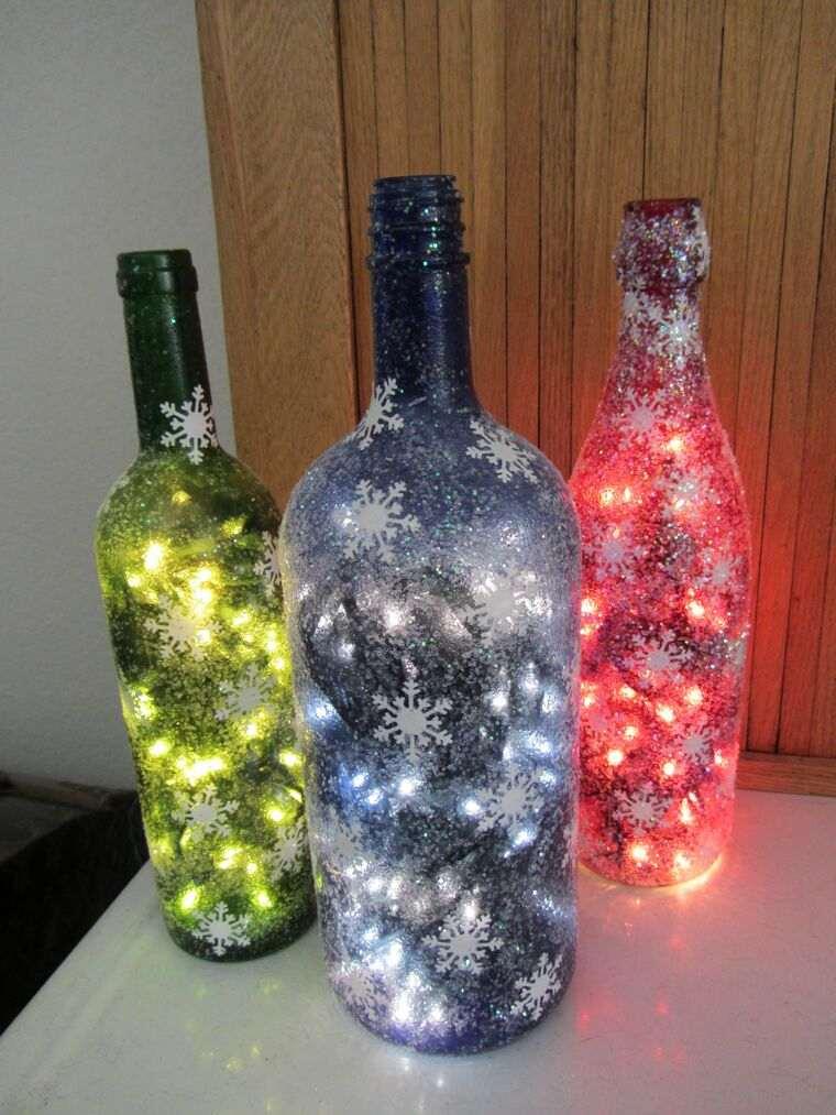 iluminación navideña botellas