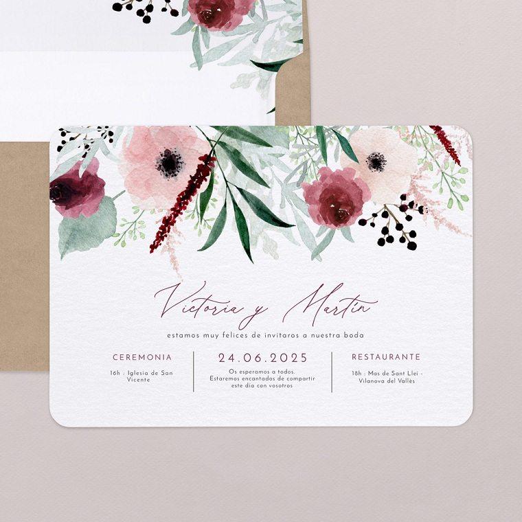 invitaciones de boda originales-flores-acuarela