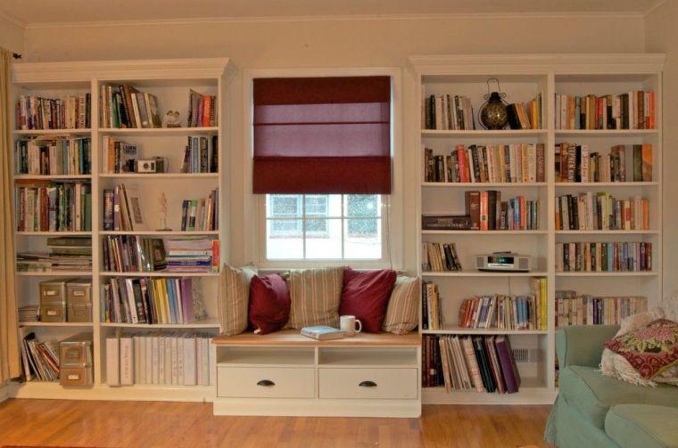 biblioteca en casa acogedor