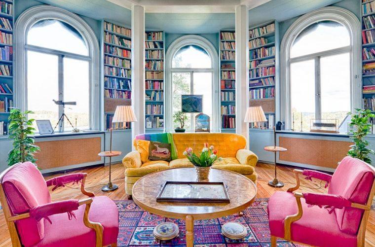 biblioteca en casa azul