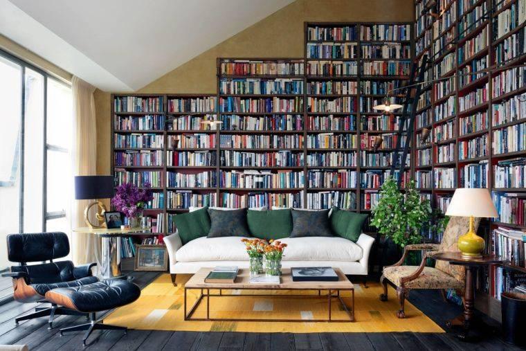 biblioteca en casa colorida