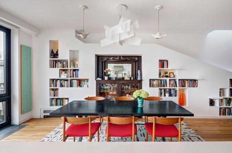 biblioteca en casa comedor