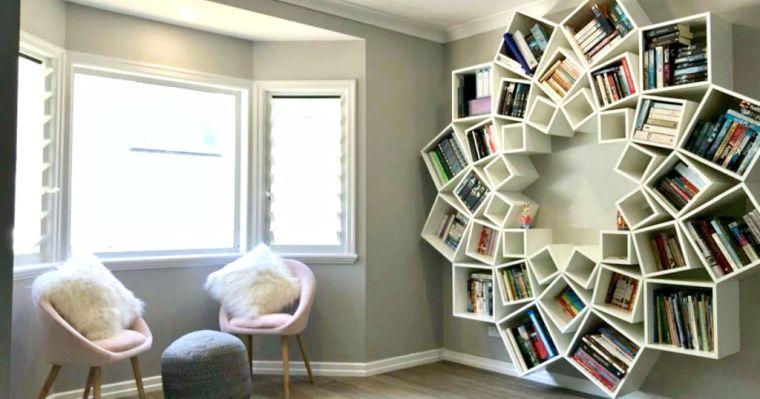 biblioteca en casa flor