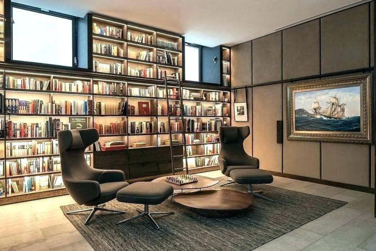 biblioteca en casa iluminada