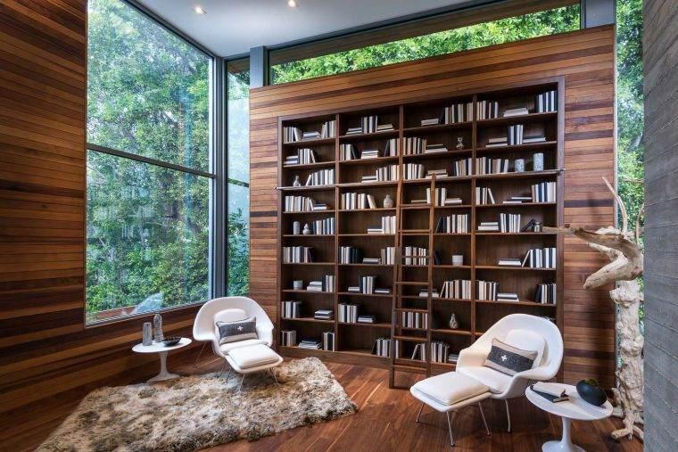 biblioteca en casa madera