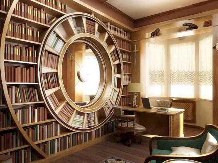 biblioteca en casa redonda