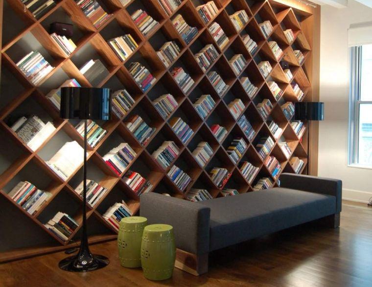 biblioteca en casa rombo