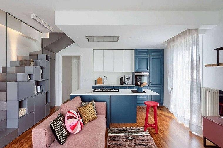cocina-pequena-diseno-color-azul