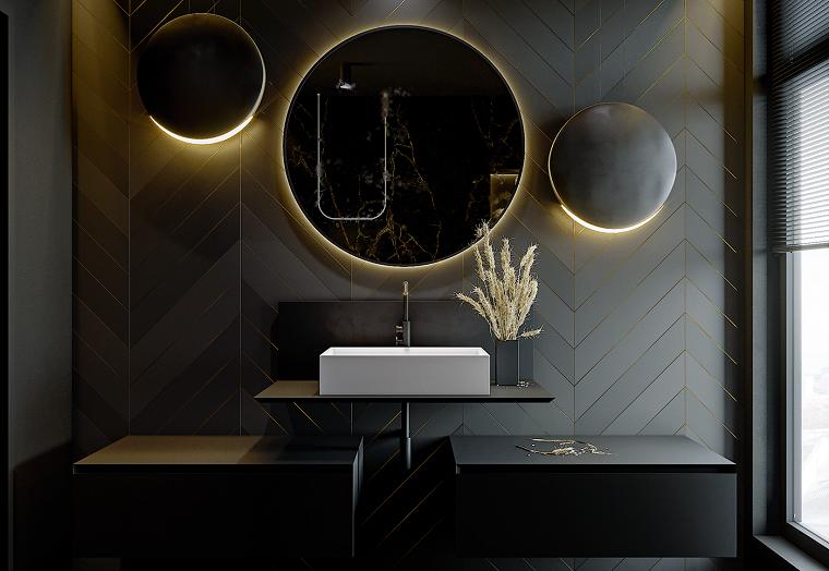 color-negro-bano-espejos-estilo