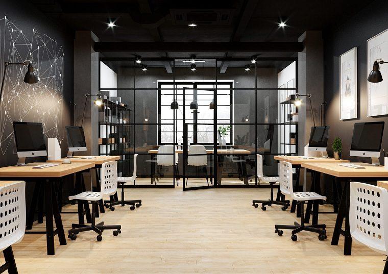 decoración de oficinas muebles-blancos-ideas