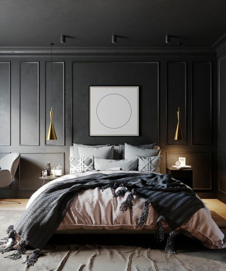 dormitorios de matrimonio 2020 pared-negra