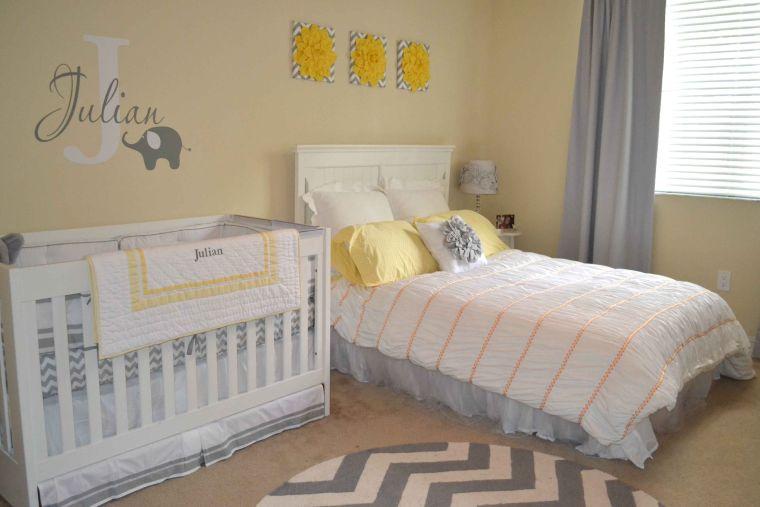 habitaciones compartidas amarillo gris