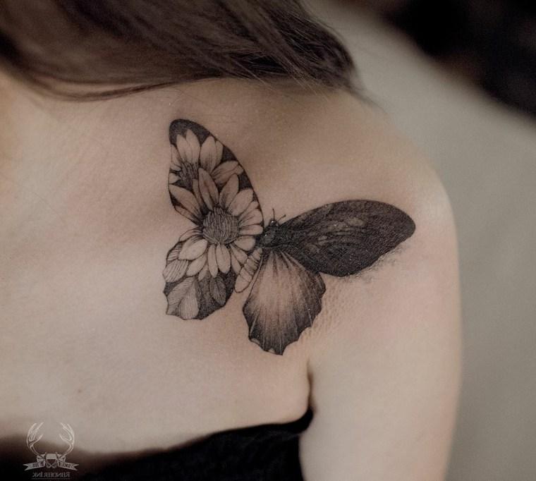 imagenes-tatuajes-mariposa-flores