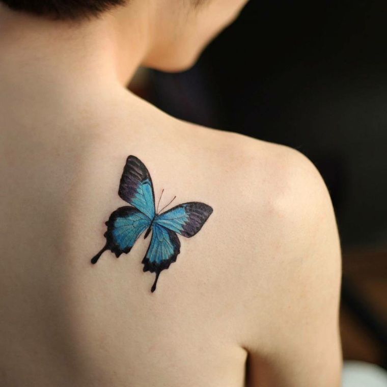 tatuaje-color-azul-mariposa-ideas