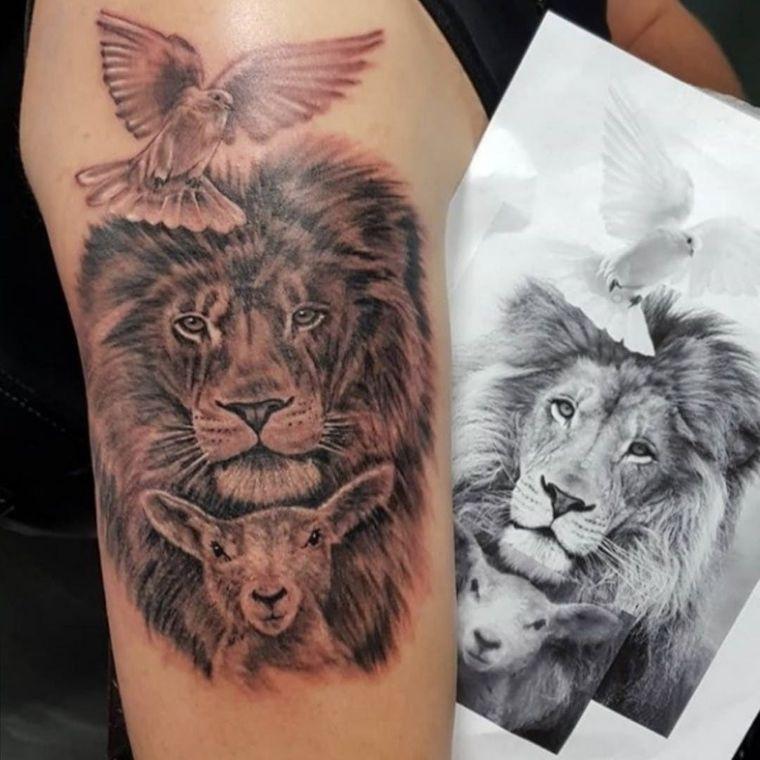 tatuajes de leones cordero