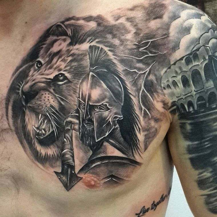 tatuajes de leones guerrero