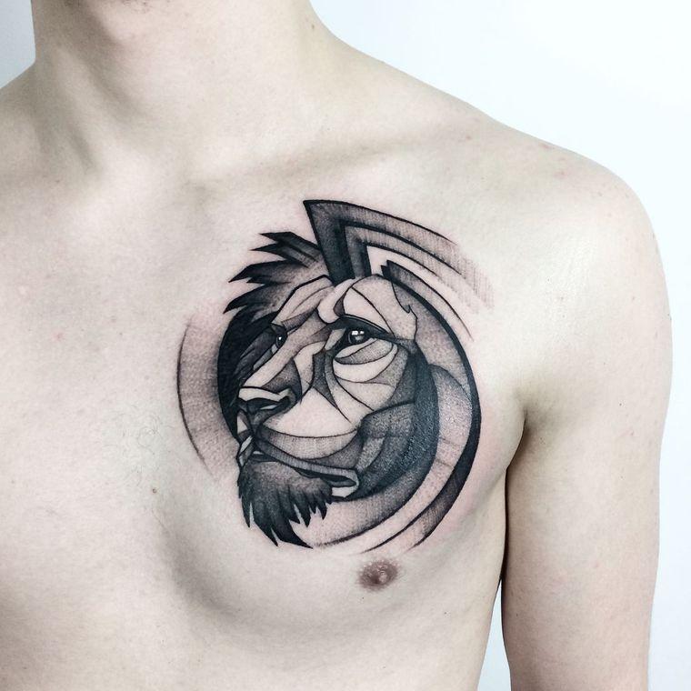 tatuajes de leones pecho