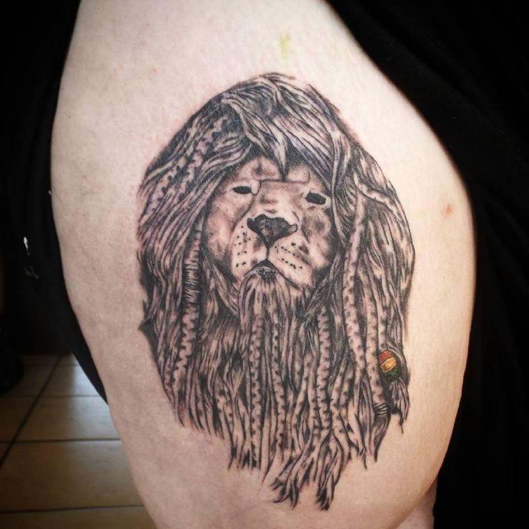 tatuajes de leones rasta