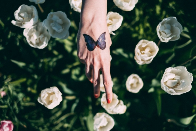 tatuajes-de-mariposas--petalos-rosa