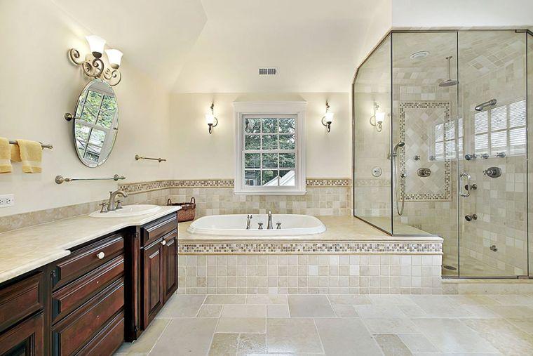 baños modernos con caliza